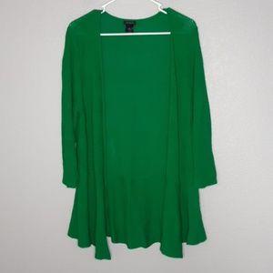 Ann Taylor Green Knit Openfront Flowy Cardigan
